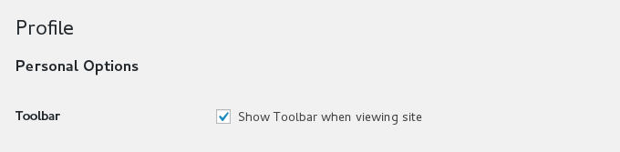 Hide show toolbar option in profile page