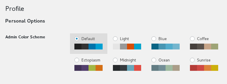 WordPress color scheme picker in profile page